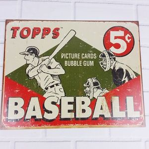 Other - Topps Baseball Picture Cards Tin Metal Sign